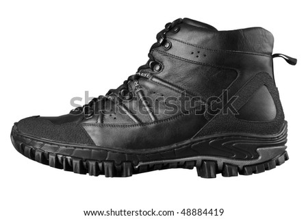 Man's winter leather boots of black color, isolated on white - stock photo