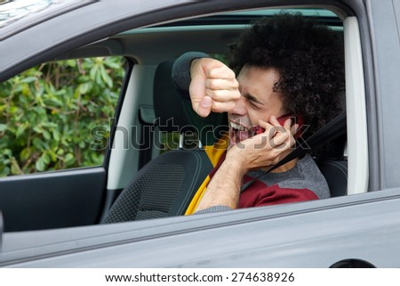 Man screaming because of accident with car - stock photo