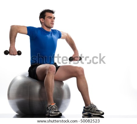 man seat on swiss ball on a white background Seated Swiss Ball Wide Rowing