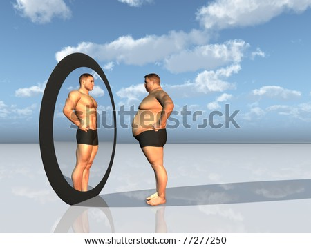 Man sees other self in mirror - stock photo