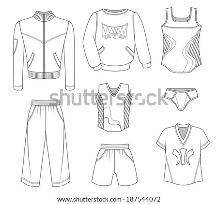 Man set tricot clothes isolated on white background - stock photo