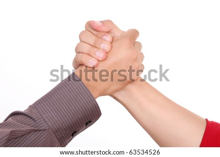 Man shaking hands on a white background - stock photo