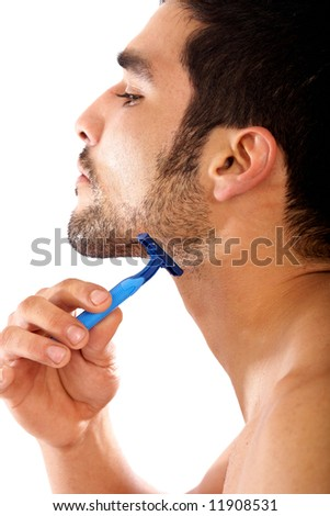 man shaving his beard isolated over a white background