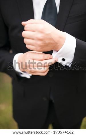 man shirt buttons - stock photo