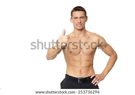 Man shirtless shows thumb up sign on white background