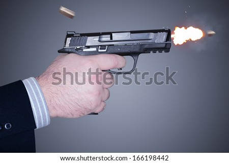 Man shooting a gun