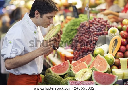 Man Shopping for Produce - stock photo