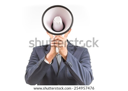 Man shouting and yelling with loudspeaker. Isolated white background