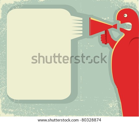 man shouting through loudspeaker.Poster for text on old paper texture.Raster - stock photo