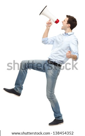 Man shouting through megaphone - stock photo