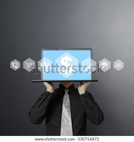 man showing a laptop against  - stock photo