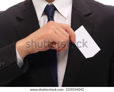 man showing blank business card - stock photo