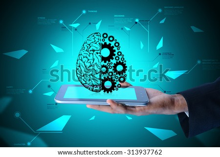 Man showing brain and gear wheels on smart phone in color back ground  - stock photo