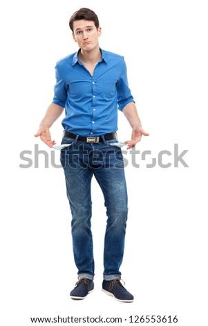Man showing empty pockets - stock photo