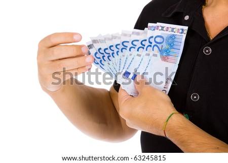 Man showing euro bills, studio shot - stock photo