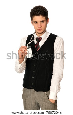 man showing his badge at the entrance of meeting room of a conference - stock photo