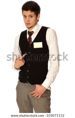 man showing his badge to present himself at the conference - stock photo