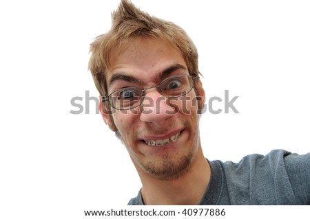 Man showing his braces face close up - stock photo