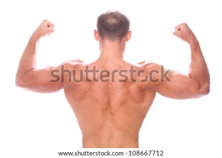 Man showing his muscular back over white background - stock photo