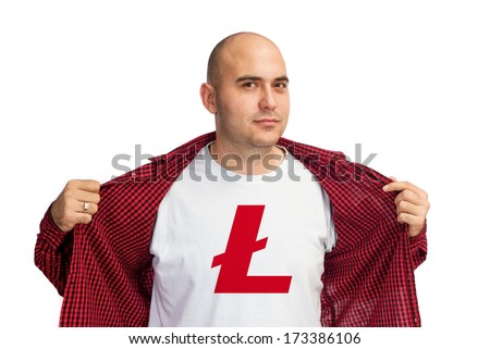 Man showing Litecoin currency symbol printed on his shirt. Bitcoin is virtual electronic money.