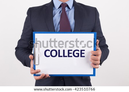 Man showing paper with COLLEGE text - stock photo