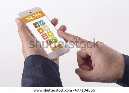 Man showing smartphone Investment on screen