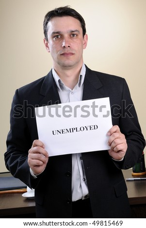 man showing unemployed message