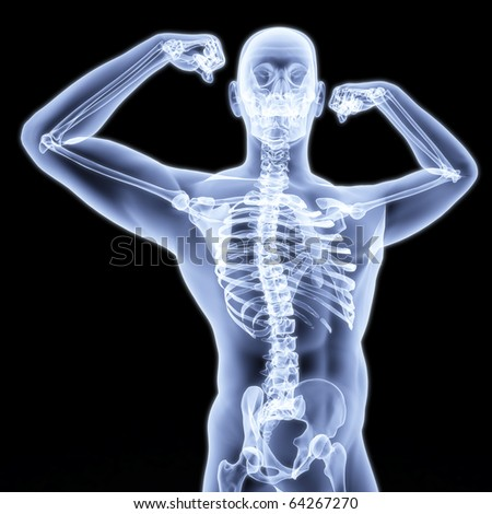 man shows biceps under the X-rays. - stock photo