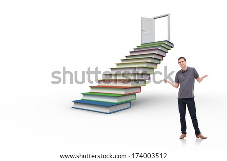 Man shrugging his shoulders against steps made from books leading to open door - stock photo