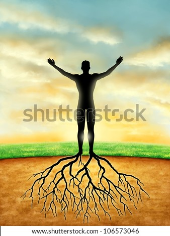 Man silhouette connects to the Earth with some roots developing from its legs. Digital illustration. - stock photo
