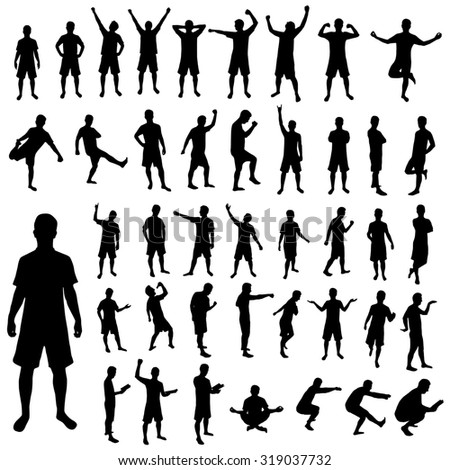 Man silhouette set