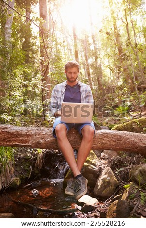 Man Sits On Tree Trunk In Forest Using Laptop Computer