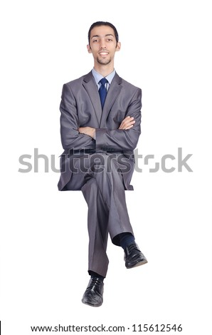 Man sitting on virtual chair - stock photo
