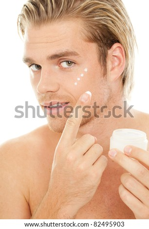 man skin creme - stock photo