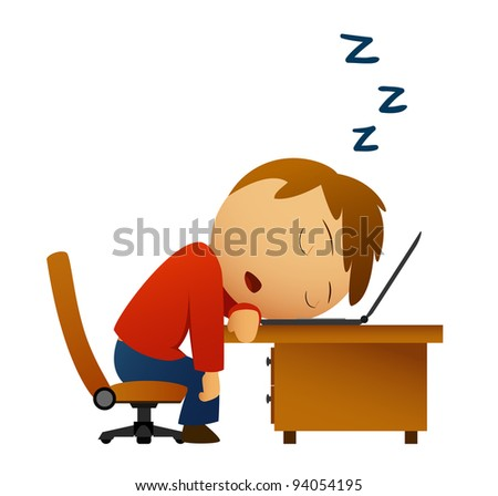 Man sleeping at work table over laptop isolated on white. Vector available. - stock photo