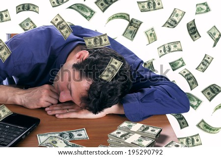 man slepping with dollar bills - stock photo