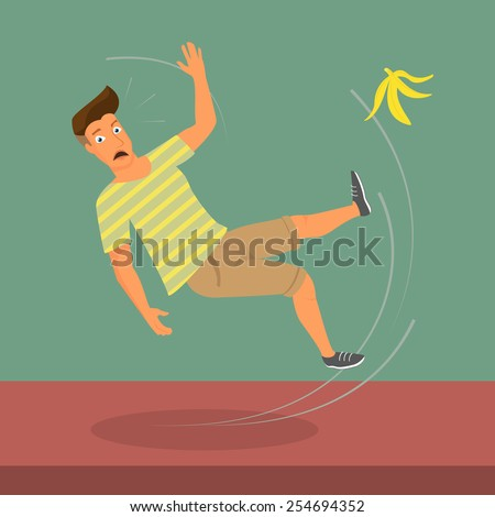 Man slipped on a banana. illustration - stock photo