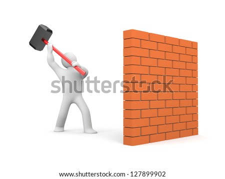 Man smashes wall - stock photo