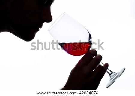 Man smelling wine - stock photo
