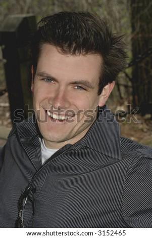 man smiling with joy - stock photo