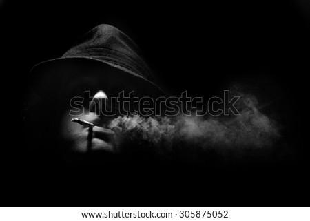 man smoking - stock photo