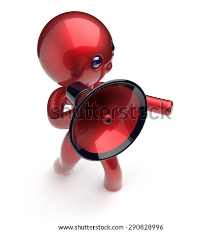 Man speaking megaphone character making announcement sale news red stylized human cartoon guy speaker person communication people shouting figure icon concept. 3d render isolated - stock photo