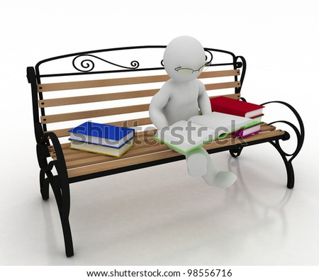 man spectacled sits on a bench and reads a book. 3d illustration on a white background. - stock photo
