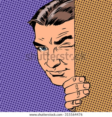 Man spy keeps peeking out from behind the wall Halftone style pop art retro vintage