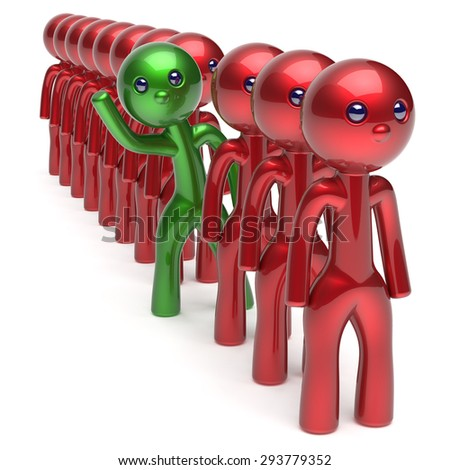 Man stand out from the red crowd different people character individuality unique green think differ person otherwise welcome to new opportunities concept human resources hr icon. 3d render isolated - stock photo