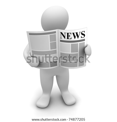 Man standing and reading newspaper. 3d rendered illustration. - stock photo