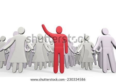 Man standing before crowd of people. Concept of leadership - stock photo