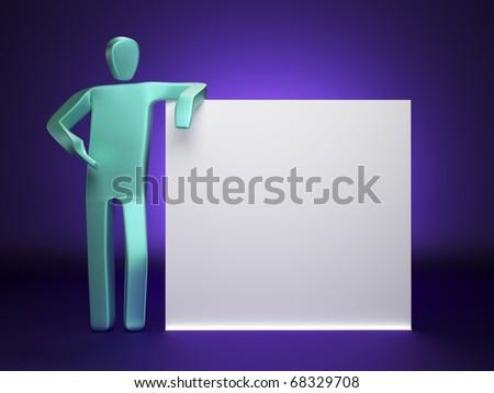 Man standing near blank billboard - stock photo