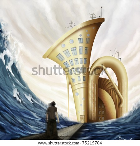 man standing on bridge near tuba house in ocean in fantasy world, digital painting - stock photo