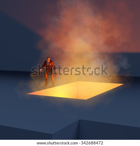 man standing on the edge fiery abyss - stock photo